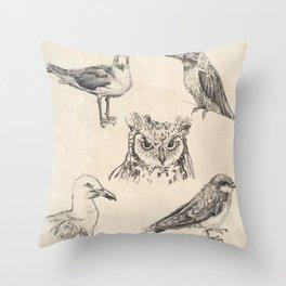 Bird vintage sketches Throw Pillow