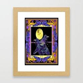 Purple-Black Ravens Under Full Moon Exotic Art Design Framed Art Print