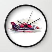 racing Wall Clocks featuring racing car2 by tatiana-teni