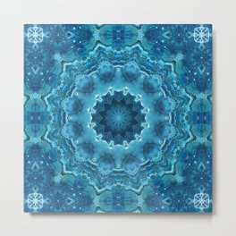 Blue mandala . Kaleidoscope . Winter . Metal Print