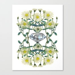 APRIL -Birth Stone & Flower Print Canvas Print