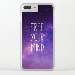 Free Your Mind, Quote, Blue Purple Night Sky, Universe Clear iPhone Case