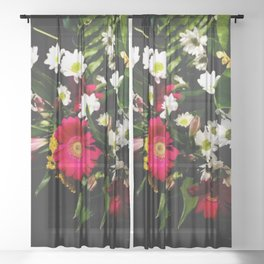 Spring Time Daisies Sheer Curtain