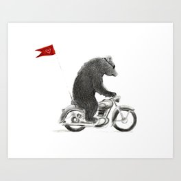 Motorcycle Bear Art Print