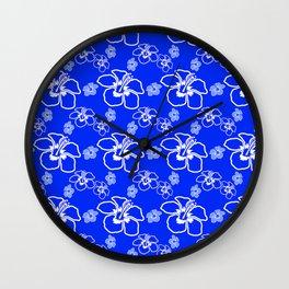 Blue Hibiscus Hawaiian Wall Clock