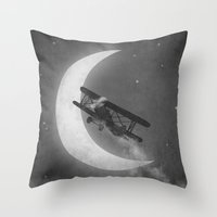 aviation Throw Pillows featuring Night Flight  by Terry Fan
