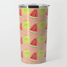 Funny cute lime green red coral watermelon fruit pattern Travel Mug