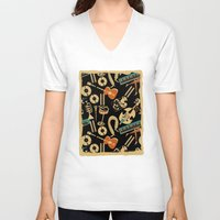 blankets V-neck T-shirts featuring Jazz Rhythm (negative) by Chicca Besso