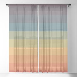 Colorful Retro Striped Rainbow Sheer Curtain