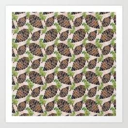 Watercolor Pine Cone Pattern Art Print