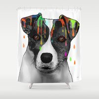 jack russell Shower Curtains featuring Jack Russell Dog BW by Marlene Watson