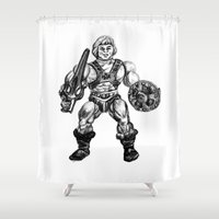 he man Shower Curtains featuring HE-MAN by Furry Turtle Creations