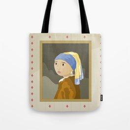 Girl with pearl by Vermeer  Tote Bag