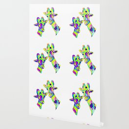 Abstract Cute Giraffe with Neon Colorful Spots Wallpaper