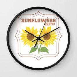 Sunflowers Seeds Floral Flower Florist Wall Clock