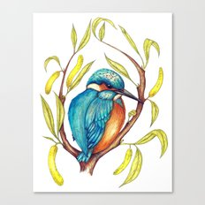 Kingfisher on Willow Canvas Print