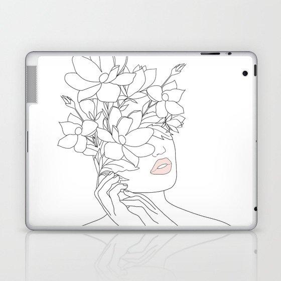Minimal Line Art Woman with Magnolia Laptop & iPad Skin