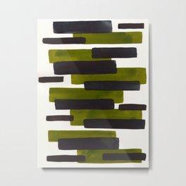 Olive Green Primitive Stripes Mid Century Modern Minimalist Watercolor Gouache Painting Colorful Str Metal Print