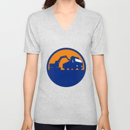 Mechanical Digger Loading Dump Truck Circle Retro Unisex V-Neck