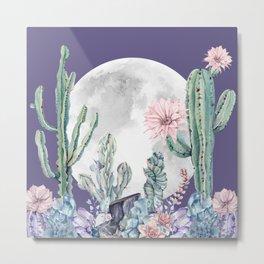 Desert Nights Gemstone Oasis Moon Purple Metal Print