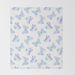 Lilac aqua blue watercolor hand painted butterfly Throw Blanket