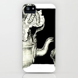 Geometric Black and White Drawing Tea Pot Time iPhone Case