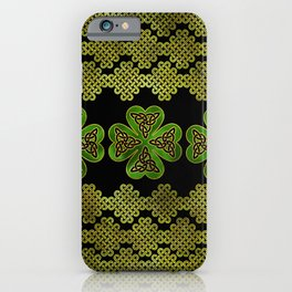 Shamrock Four-leaf clover with Triquetra iPhone Case