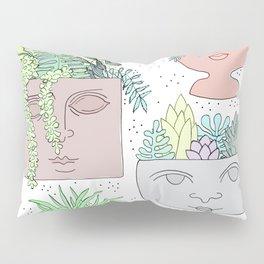 Planter Faces + Dots in Garden Green Pillow Sham