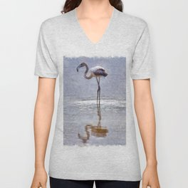Flamingo Ripples and Reflections Watercolor Unisex V-Neck