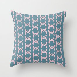 decorative chain ornament pattern pink blue Throw Pillow