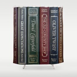 Dickens Books Shower Curtain