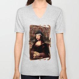 Chicana Mona Lisa Unisex V-Neck