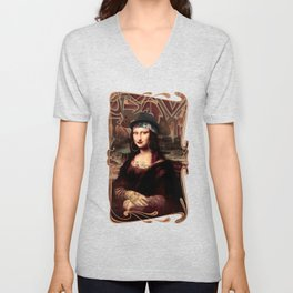 Chicana Mona Lisa Unisex V-Neck