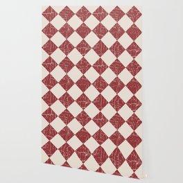 Farmhouse Checkerboard in Brick Red on Cream Wallpaper