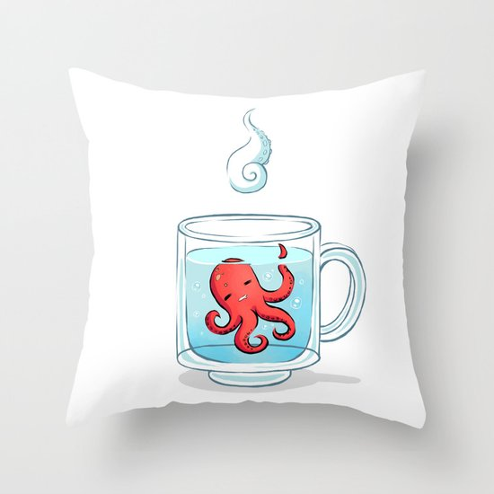 Octopus Tea Throw Pillow