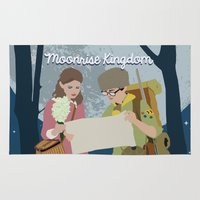 moonrise kingdom Area & Throw Rugs featuring Moonrise Kingdom by Celina Frelinghuysen