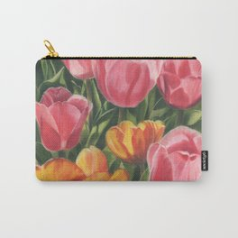 Pink and Yellow Tulips Carry-All Pouch