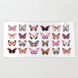 Pink Butterflies Beach Towel
