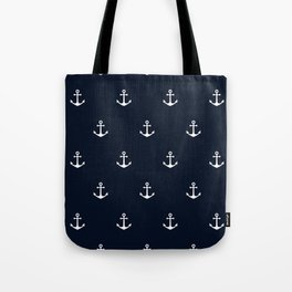 Dark Blue Anchor Pattern Tote Bag