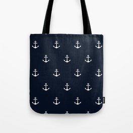 Dark Blue Anchor Pattern Tote Bag