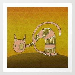 Pink Curious Cat III Art Print