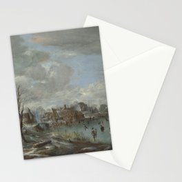 Aert Van Der Neer - A Frozen River Near A Village, With Golfers And Skaters Stationery Cards