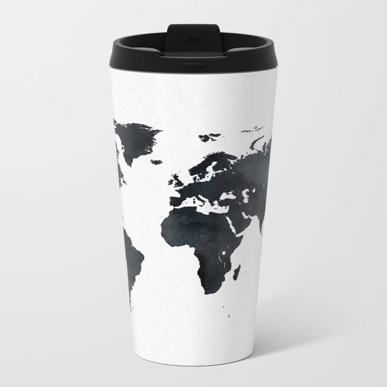 World Map in Black and White Ink on Paper Metal Travel Mug