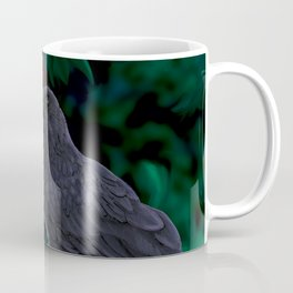 Crow perched on pomegranate tree branch Munin crow of Odin Coffee Mug