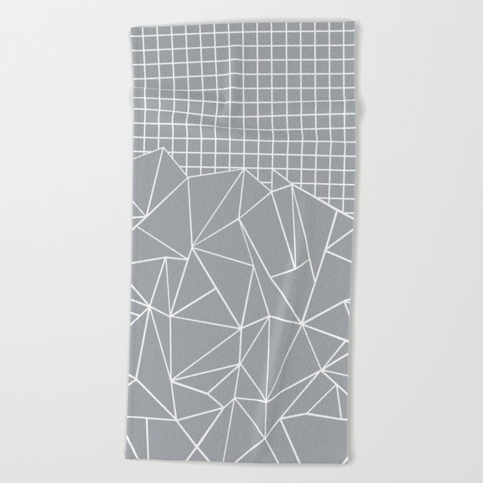 Abstract Outline Grid Grey Beach Towel
