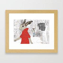 A Wolf met her Framed Art Print