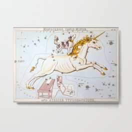 Antique Constellation Map of Monoceros (unicorn), Canis Minor (little dog) Metal Print