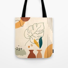 Monstera Leaf Contemporary Abstract Tote Bag