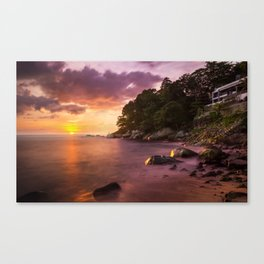 Iguana Beach in Patong, Phuket, Thailand. Capture the sunset shoot with long exposure. Canvas Print