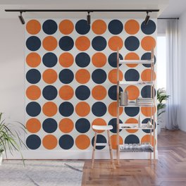 navy and orange dots Wall Mural